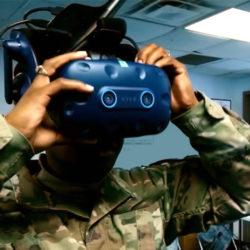 soldier wearing VR headset